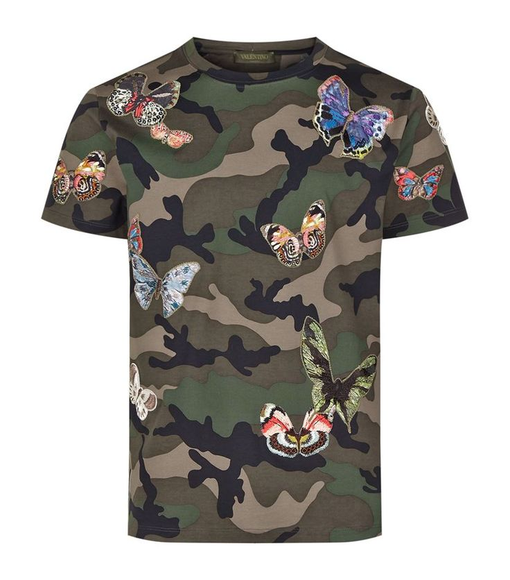 Valentino Camouflage Butterfly T-Shirt Camouflage 895 GBP.