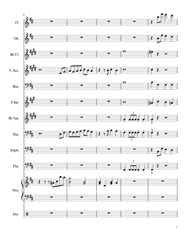 Sheet music made by mollyxtina for 12 parts: Flute, Oboe, B? Clarinet, Tenor Saxophone, Bassoon, Horn in F, B? Trumpet, Trombone, Euphonium, Tuba, Piano, Drumset