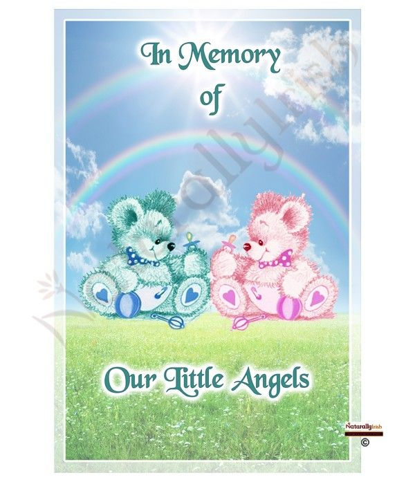 Twin Boy and Girl Teddies Memorial Candle