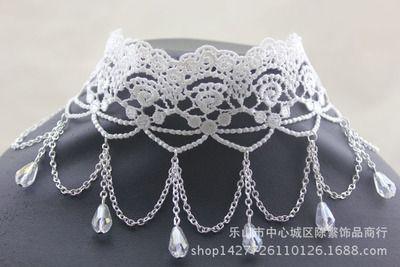 Белые кружевные цветы преувеличены многослойных кристалл кисточкой ожерелье невесты свадьба Ожерелье