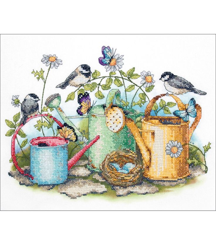 Springtime abounds in this lovely stamped cross stitch design. This collection of watering cans will appeal to gardeners and nature lovers. This kit contains: printed white poly/cotton sailcloth; pres