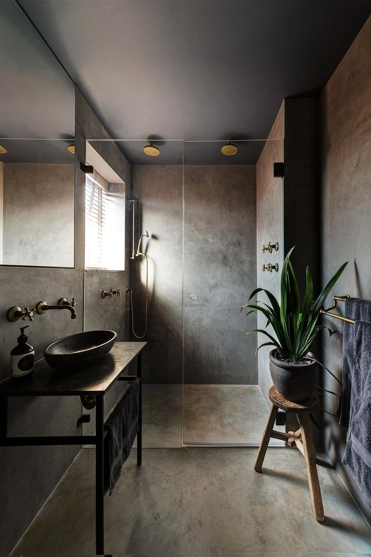 Dark earthy bathroom || Wall finish/flooring: Acrylic render with Marrakesh plaster and black olive soap by Creative Wall Solutions. Interior design: Alexander & Co. Photo: Cameron Spencer