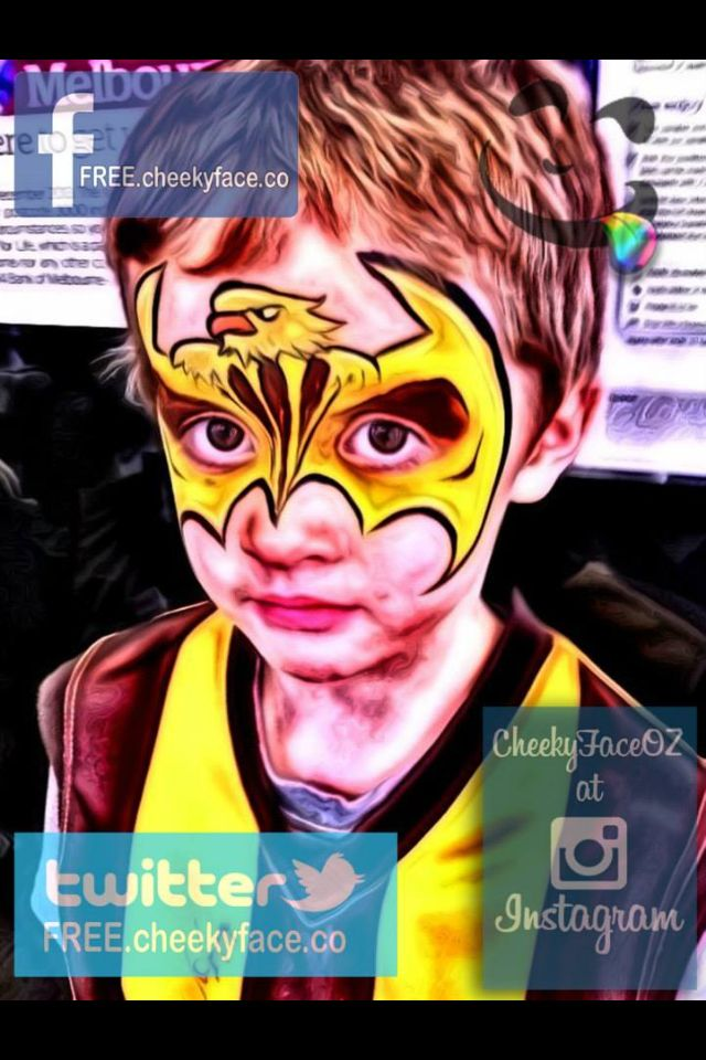 Hawks Football club face painting by Cheeky Face artist: Lorene AFL FINALS PARADE 2014