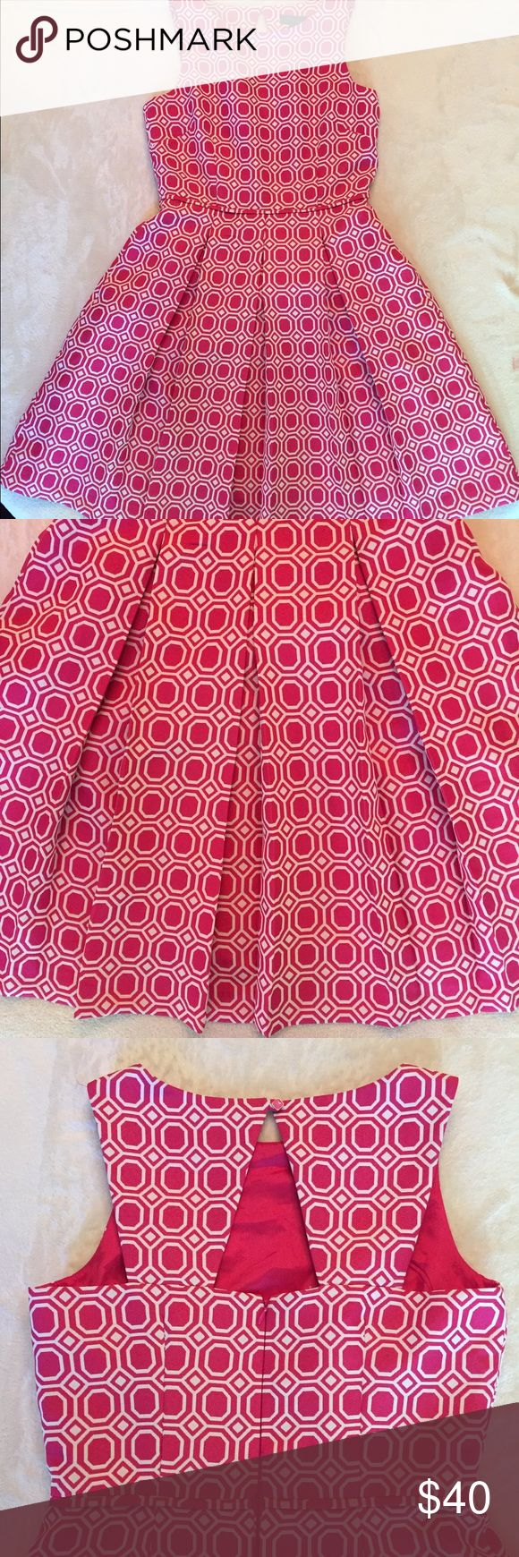 Vintage Style Pleated A Line Pink Geometric Dress This is a beautiful preppy vintage style dress with a cutout back, deep pleats, and an adorable pin-up girl feel. The thick fabric is breathable, but gives structure to this lovely piece. The zipper works well, the colors are vibrant, and this is in great condition overall! The only flaw is a sharpie mark through the tag that does NOT bleed through to the back. 🎀 keywords: prep, sorority recruitment, circle skirt, trend, retro, cute…