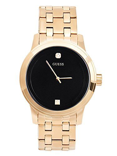 Men's Wrist Watches - GUESS Mens Black and GoldTone Diamond Dress Watch *** Find out more about the great product at the image link.