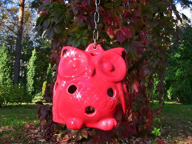 Ceramic red owl is suitable for inside and outside uses. Red owl would be good as an element of Christmas decor. A small candle can be placed inside the owl.