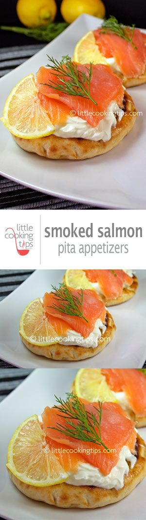 Fast and easy pitas with cream cheese, Greek yogurt and smoked salmon. A delicious appetizer for any occasion. Repin to your own inspiration board! #salmon #appetizer #Greek #yogurt #pita
