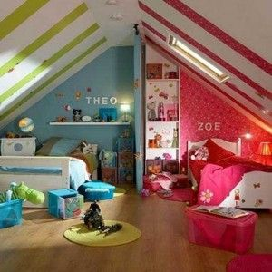 shared kids bedroom.. not this exact thing but good idea to split it down the middle paint wise and otherwise for a toddler and a baby.. & Ikea has those tracks that go on the ceiling to hang curtains as room deviders that you can close at night!