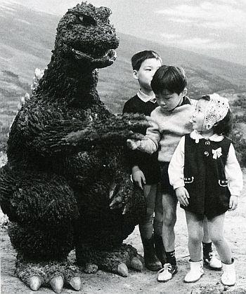 Godzilla says hello to some giant kids
