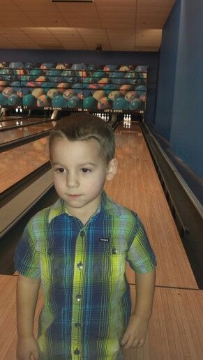 Declan bowling on the weekend at his buddy's b-day party.