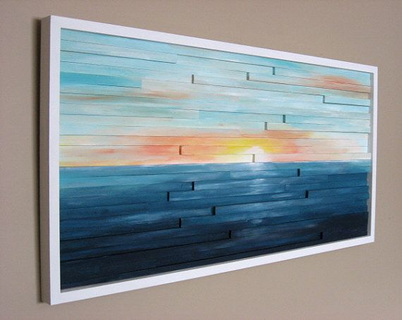 Abstract Landscape Painting on Wood Wall por ModernRusticArt