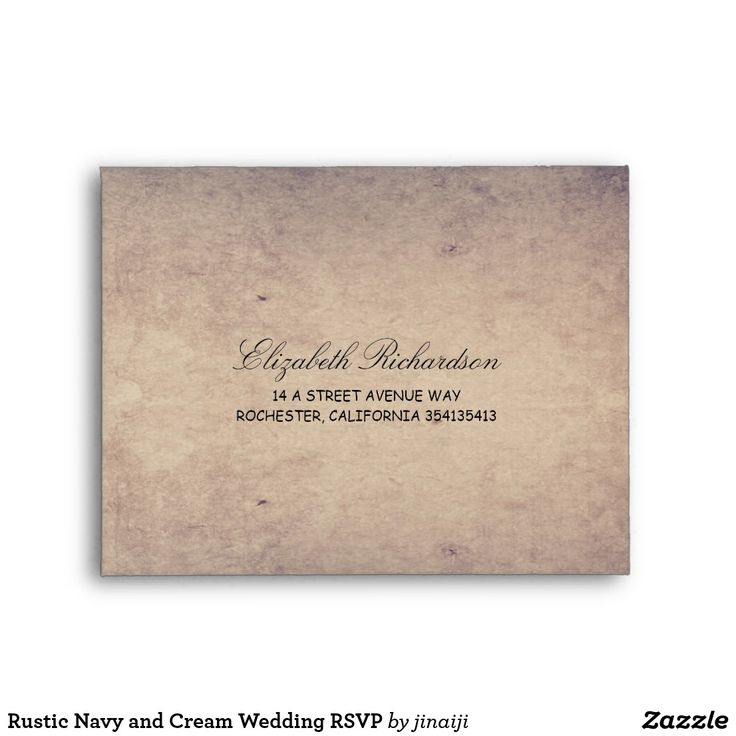Rustic Navy And Cream Wedding Rsvp Envelope Vintage Reply Cards Envelopes
