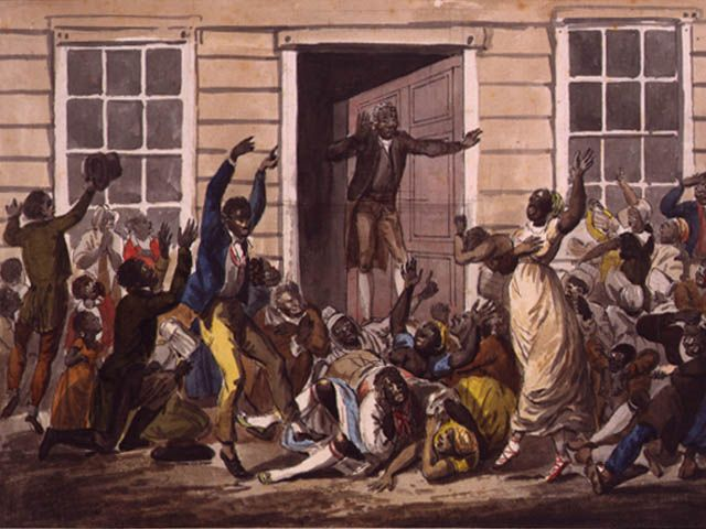 Black People's Prayer Meeting, a painting made by the famous John Lewis Krimmel, was one of the first paintings in America to portray free African American people. Krimmel was also the first genre painter in America.