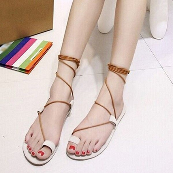 Women Summer Beach Retro Simple Lace Up Flat Clip Toe Outdoor Sandals Shoes - US$19.43