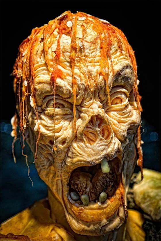 Creepy and spooky zombie pumpkin carving - I doubt it would come out like this if I carved it tho!!