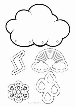 Weather unit for Preschool and Kindergarten. A page from the unit: Weather mobile