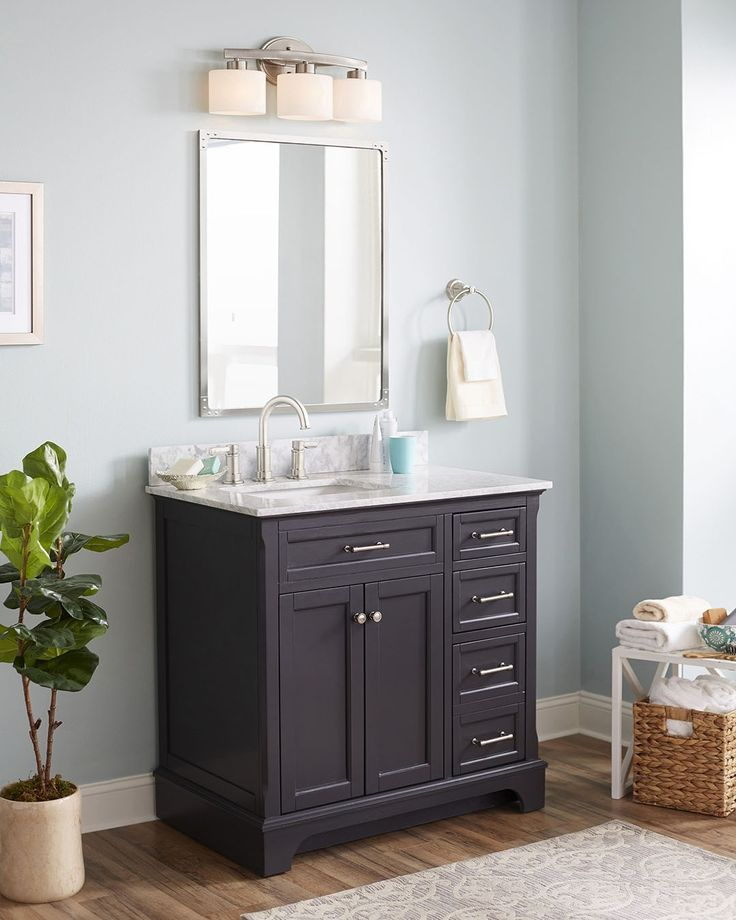 Gallery One allen roth Roveland Gray Undermount Single Sink Birch Bathroom Vanity with Natural Marble Top
