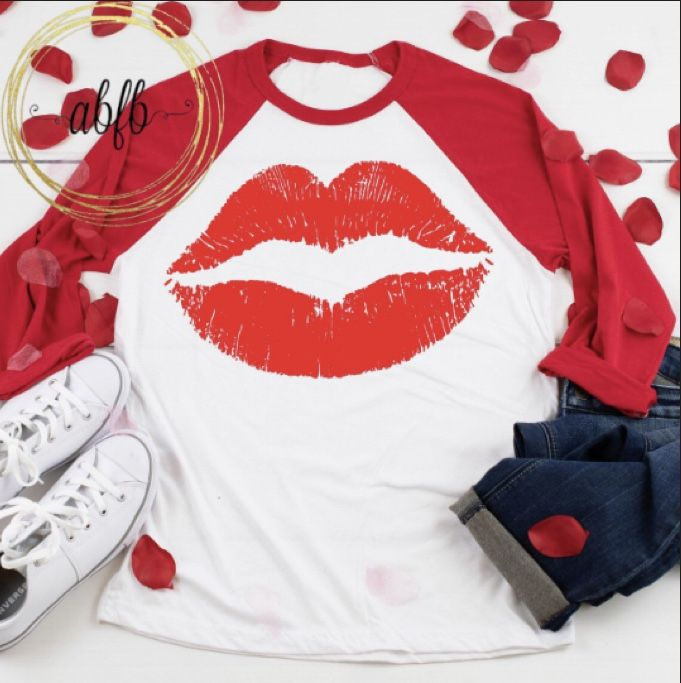 Adult Raglan Red Lips Red Lips Shirt Lips Shirt Red Lips Tee