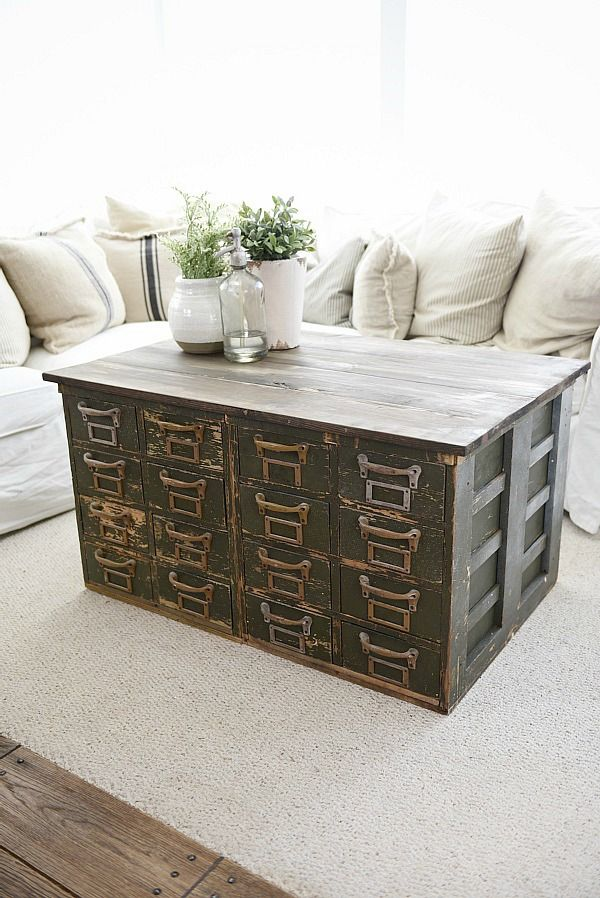 Rustic Green card catalog coffee table - A great source ...