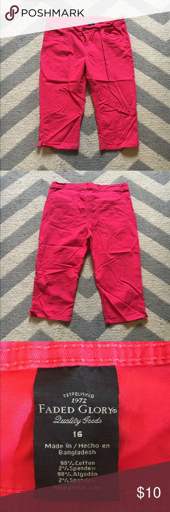 Pink capris NWOT. *selling for my momma. 🚭Smoke free, 💜🐶😺 Pet friendly household. Faded Glory Pants Capris