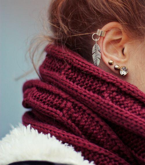 <3Feathers Earrings, Fashion, Cartilage Earrings, Style, Cuffs Earrings, Ear Cuffs, Scarves, Ears Piercing, Ears Cuffs