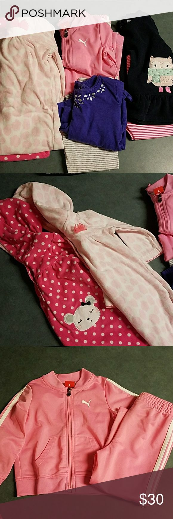 Bundle of 24m & 2T 2 carters 24m fleece hooded onesies (snaps from neck to ankles), pink puma 24m track suit, carters 24m owl fleece top with leggings (leggings never worn),  carters 24m purple long sleeve top with leggings, 2 carters sets 24m 3/4 sleeve with leggings, 1 black 24 month sweater. 2T portion of bundle as follows; carters long sleeve, carters b&w tshirt, carters denim colored leggings, finding dory tshirt, okie dokie owl dress/tunic, healthtex stripe & polka dot dress and 1…