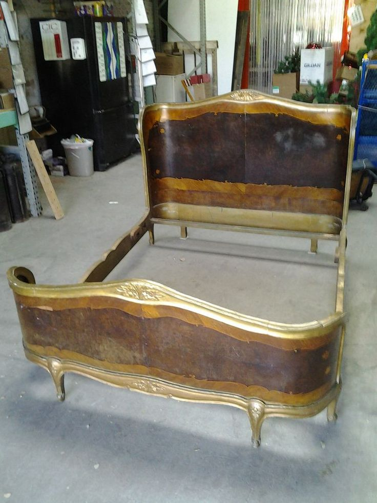 Bed wooden curved from black dog salvage for