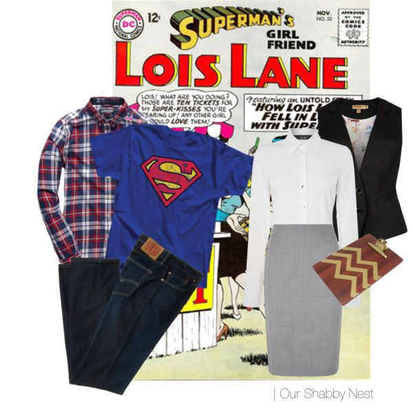Couples Costumes: Superman and Lois Lane by ourshabbynest on Polyvore featuring Oui, Ted Baker, Hobbs, Levi's and Threshold