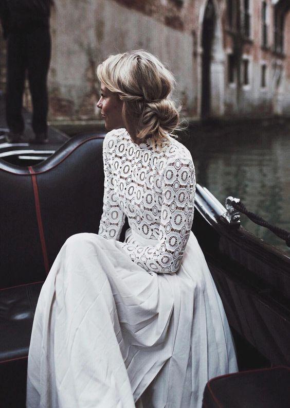 wedding dresses under $1000 – crochet long-sleeved wedding dress by Self Portrai…