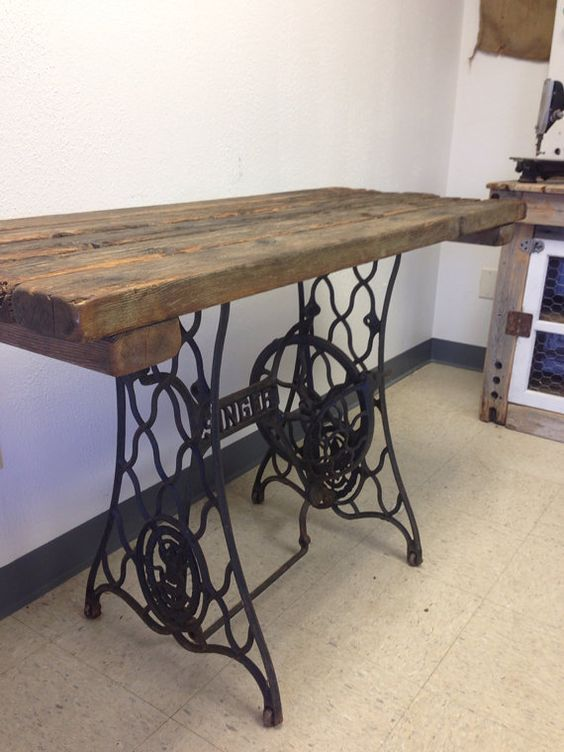 singer table bottom repurposed into desk - Google Search