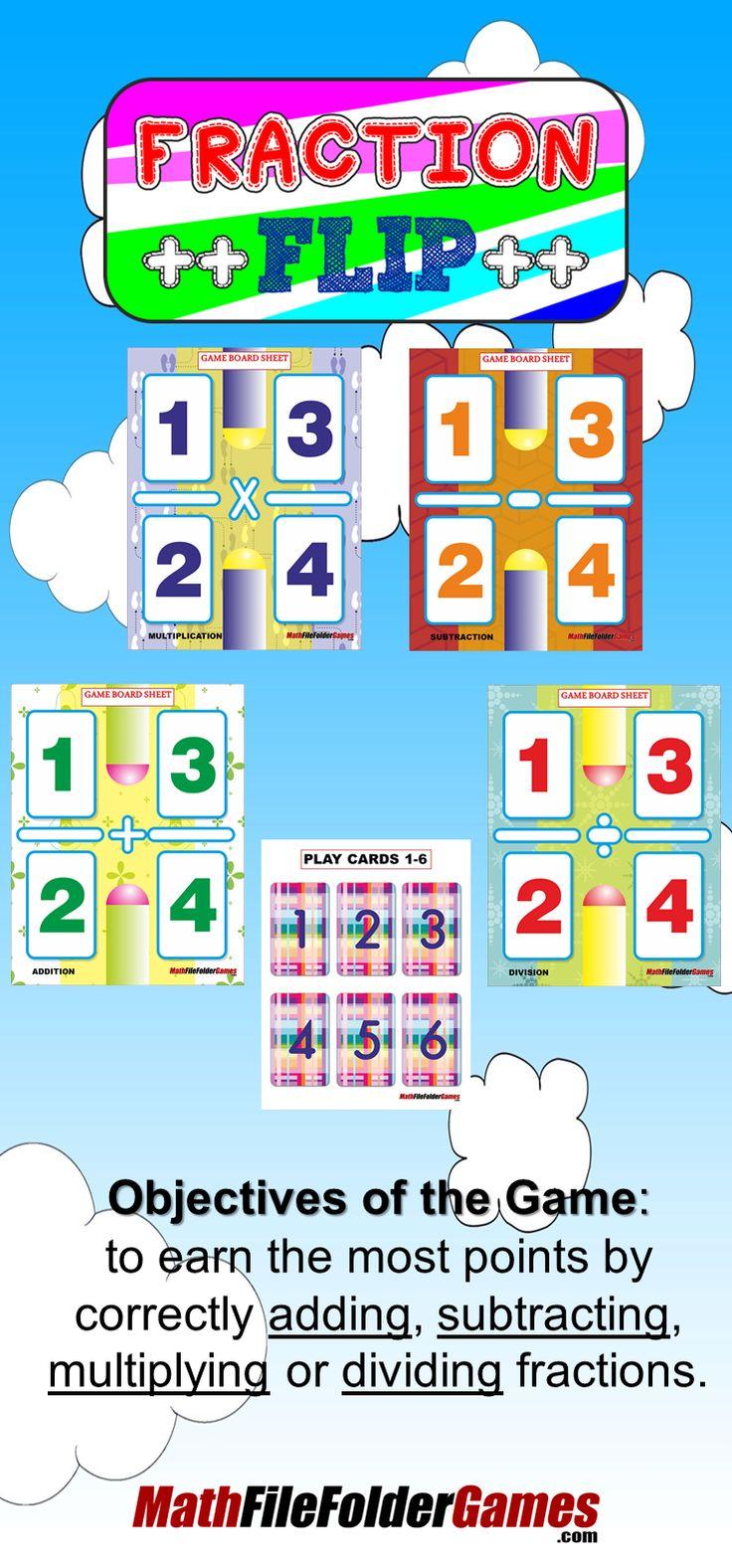 Fraction Flip: Adding, Subtracting, Multiplying & Dividing Fractions Game  Http: