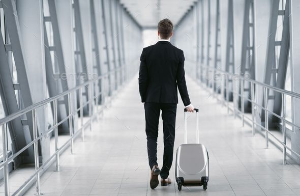 Urban Business Man Walking In Airport With Suitcase Social Media Design Graphics Business Man Business Fashion