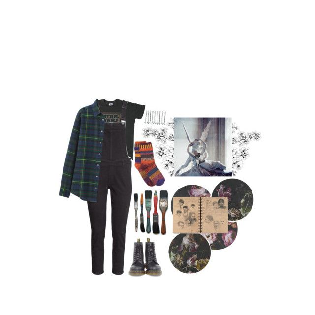 """""""Untitled"""" by batnat25 ❤ liked on Polyvore featuring Junk Food Clothing, H&M, Dr. Martens, Solmate Socks, Areaware, Boho & Co, Uniqlo and BOBBY"""
