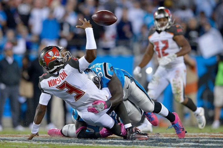 Monday Night Football: Buccaneers vs. Panthers:     October 10, 2016, 17-14, Buccaneers  -     Mario Addison of the Carolina Panthers forces a fumble as he hits Jameis Winston of the Tampa Bay Buccaneers during the game at Bank of America Stadium on Oct. 10, 2016 in Charlotte, N.C.