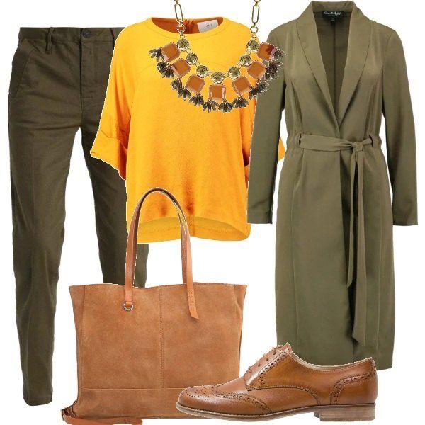 I+toni+dell'ambra+e+del+verde+oliva+sono+protagonisti+di+questa+composizione+formata+da+un+paio+di+pantaloni+abbinati+ad+una+casacca+ampia,+con+maniche+tre+quarti.+Sopra,+si+consiglia+un+soprabito+lungo+con+cintura+da+annodare+in+vita.+Le+scarpe+stringate+e+la+borsa+sono+di+un+caldo+color+cognac.+Impreziosisce+il+tutto+una+collana+con+pietre+che+richiamano+i+colori+dell'outfit.