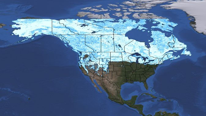 via @NASA - Snow cover maps showing the difference btw snow extent on March 3, 2011 & March 5, 2012