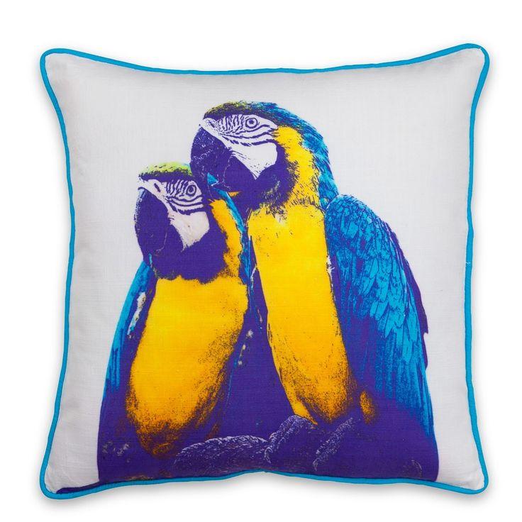 Blue Parrot Printed Cushion - 50 x 50cm