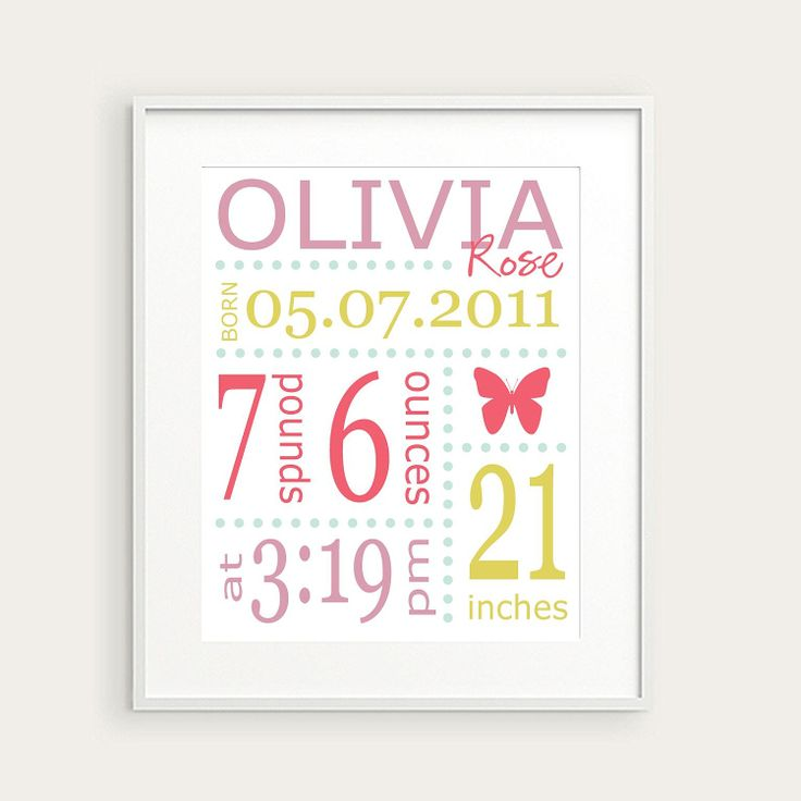 Personalized Girl's Nursery Birth Print, Butterfly, Pink Green Lavender, You Pick Color & Birth Details, Nursery Decor, Baby Gift. $16.00, via Etsy.