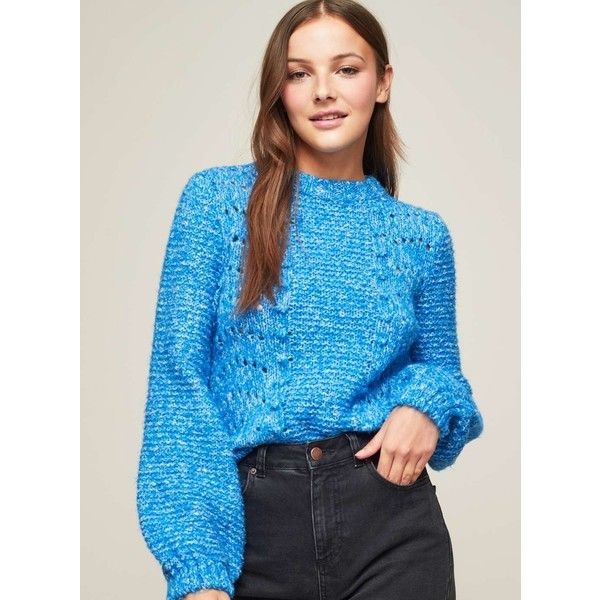 Miss Selfridge Blue Pointelle Bobble Jumper (£30) ❤ liked on Polyvore featuring tops, sweaters, blue, relaxed fit tops, miss selfridge tops, blue sweater, blue jumper and miss selfridge