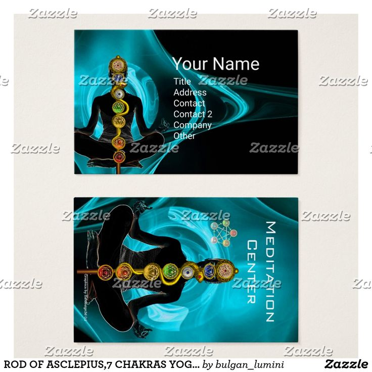 ROD OF ASCLEPIUS,7 CHAKRAS YOGA LOTUS POSE BUSINESS CARD #medical #healing #healer #energy #holistic #meditation