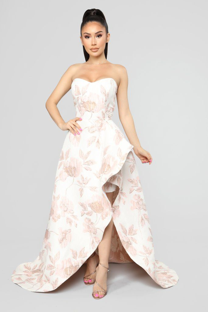 9c6162e92e44 Living High Society Slit Gown - Pink Available In Pink Textured Floral maxi  Gown Sweetheart Neckline Asymmetrical Hem Side Slit Invisible Back Zipper  Non ...