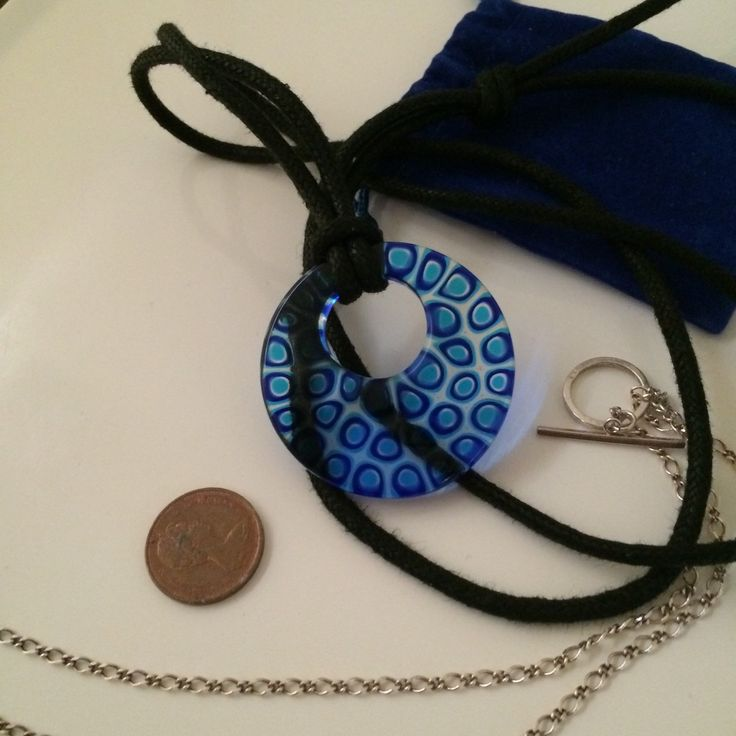 SALE Murano Venetian  glass set includes pendant blue design comes with sterling chain and long cord - $44.85 USD