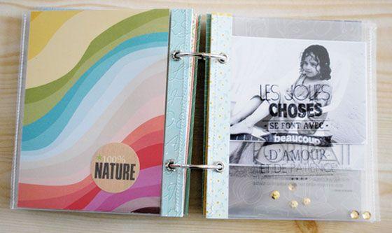 Tuto mini album : pages en plastique transparent, tamponnées à la Stazon