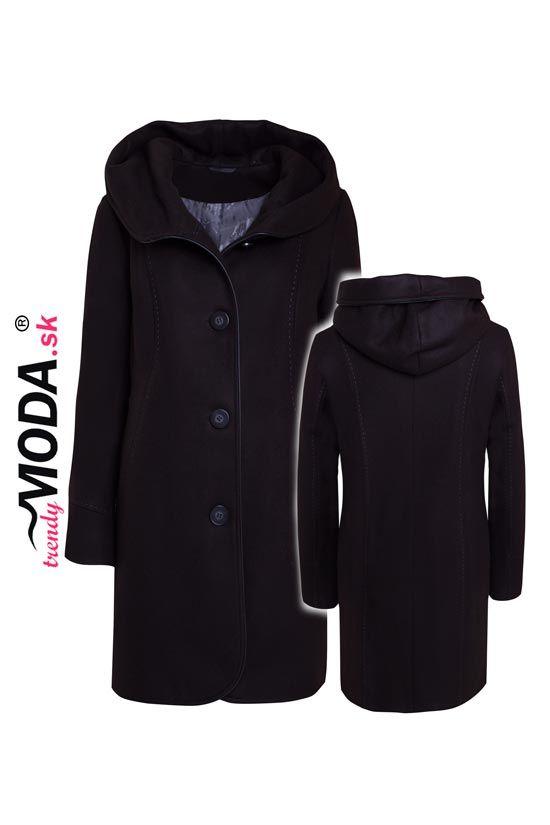 Čierny zimný kabát pre moletky– trendymoda.sk