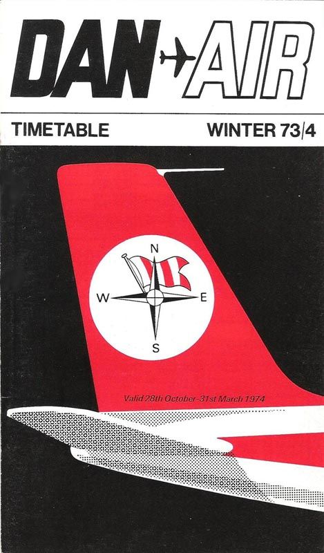 Dan-Air Timetable winter 1973-4