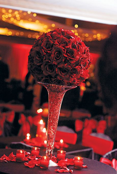 The 209 best Wedding - Red Centerpieces images on Pinterest | Flower ...