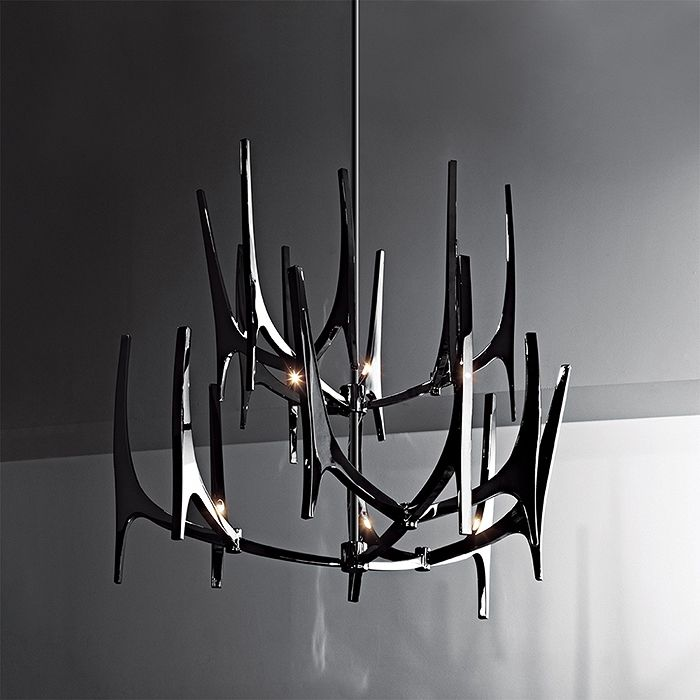 Hudson Furniture Ceiling Lighting TUSK Design By Baylar Atelier Polished  Stainless Steel Size Shown Approx.