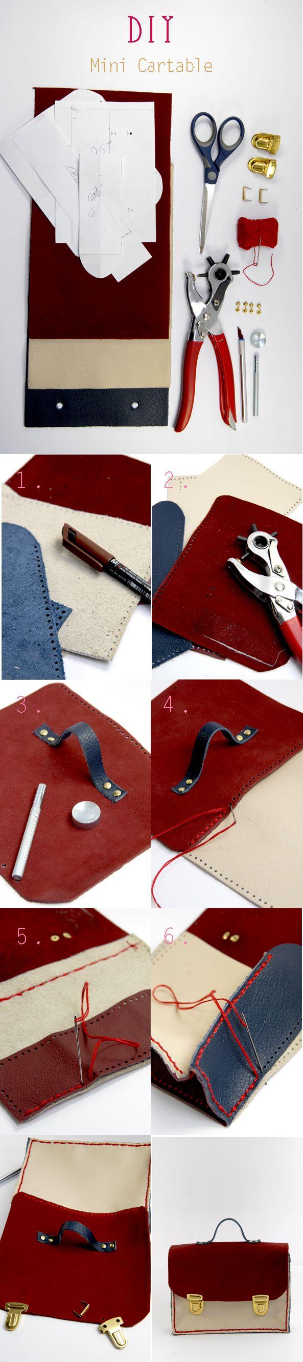 Tuto mini cartable en cuir. Autor demandée à Nadja le 21 août pour la catégorie Couture