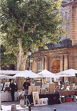 A nearby art market in a square.
