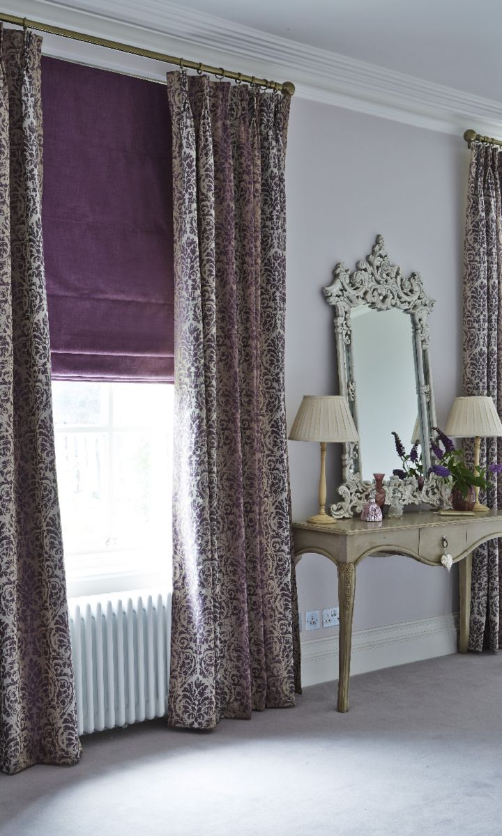 Hillarys And House Beautiful Collection Baroque Mulberry Curtains Once Amethyst Roman Blind